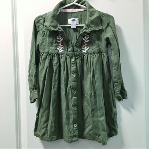 Old Navy embroidered khaki green dress